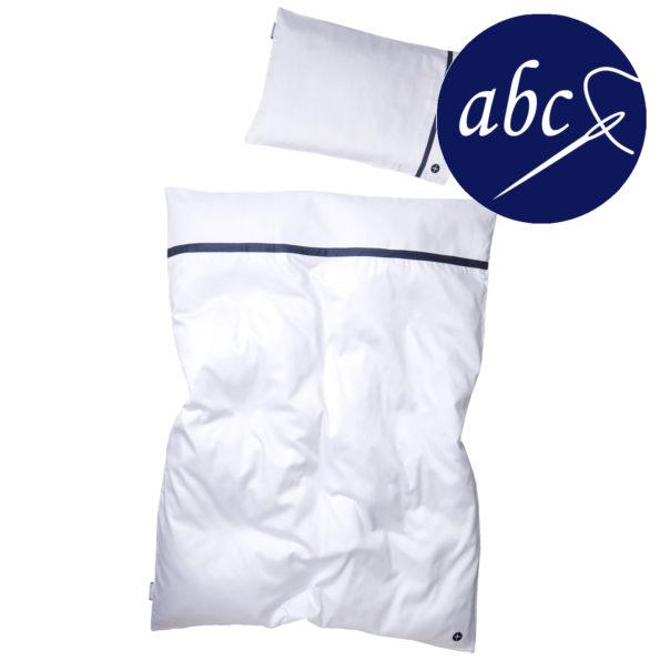 Kinderbettwäsche Weiß- Dunkelblau