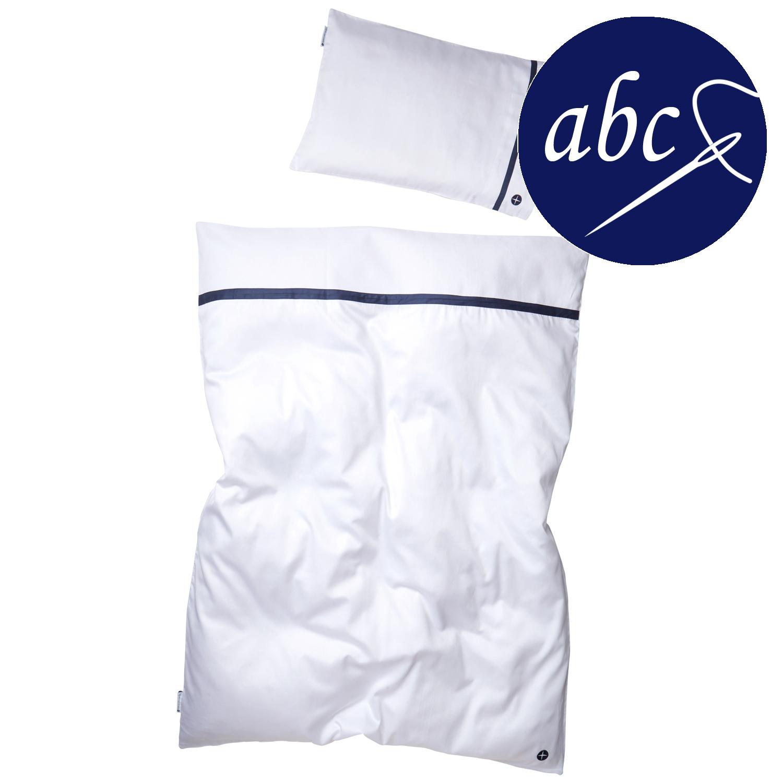 Wunderschöne Kinderbettwäsche Weiß Dunkelblau