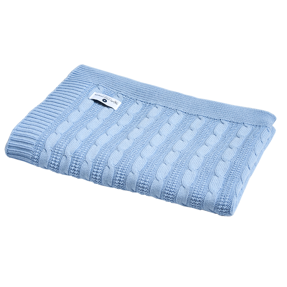 baumwolldecke hellblau babydecke aus 100 baumwolle. Black Bedroom Furniture Sets. Home Design Ideas