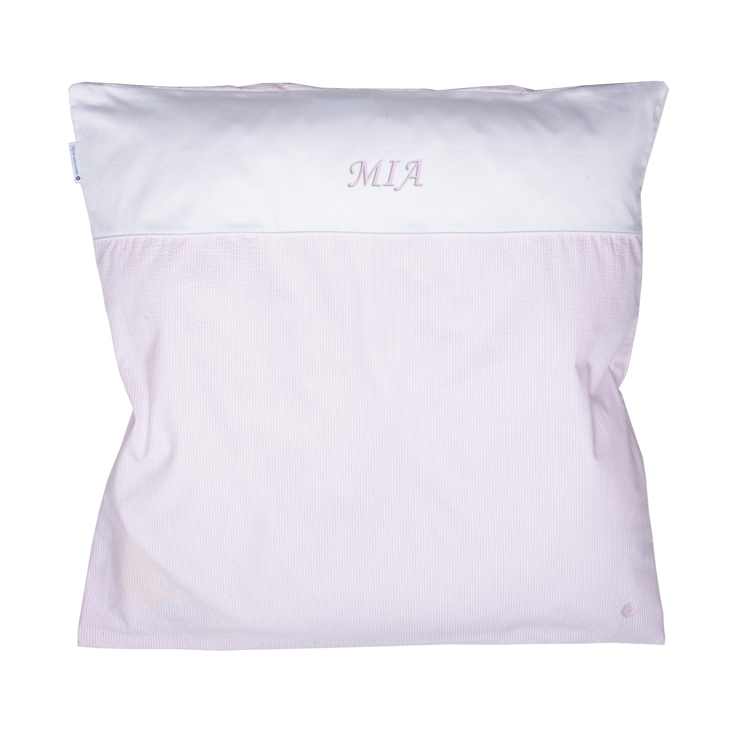 Maedchen Wiegenbettchen Babybettwäsche Baumwolle Rosa Weiß Gestreift