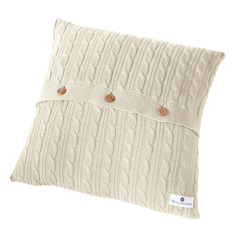 strick kissen beige zopfmuster design 40 x 40 cm