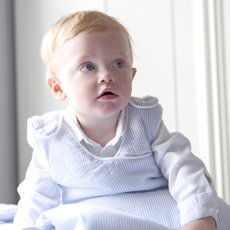 ganzjahres baby schlafsack blau f r neugeborene in baumwolle. Black Bedroom Furniture Sets. Home Design Ideas