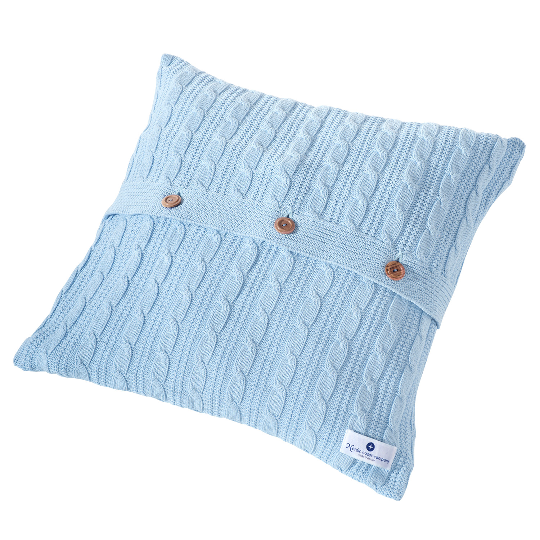strick kissen hellblau zopfmuster design 40 x 40 cm. Black Bedroom Furniture Sets. Home Design Ideas