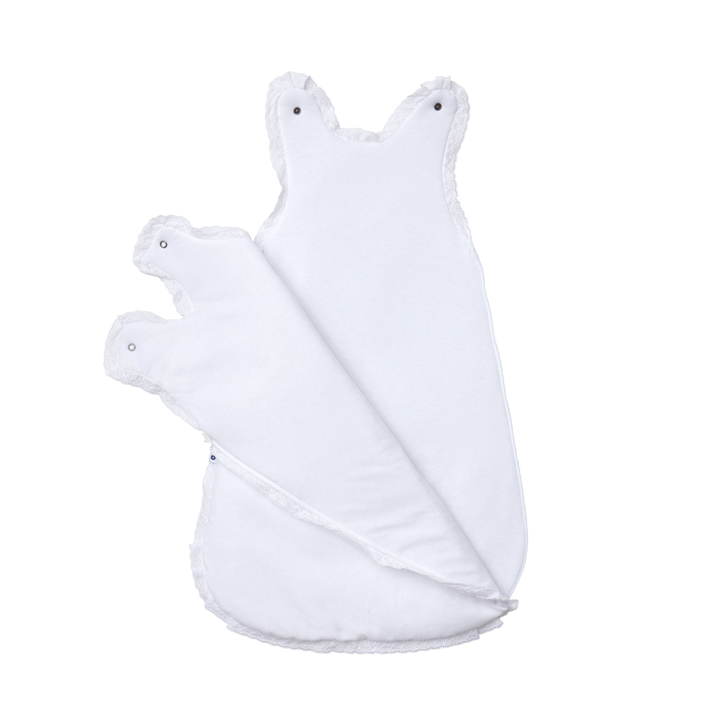 ganzjahres baby schlafsack weiss spitze f r neugeborene in baumwolle. Black Bedroom Furniture Sets. Home Design Ideas